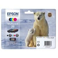 Epson 26 Inkjet Cartridge Capacity 19.7ml Black/Cyan/Magenta/Yellow Ref C13T26164010 [Pack 4]