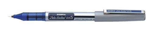 Zebra DX5 Rollerball Liquid Ink Pen Fine Needle Point Blue Ref 16072 [Pack 10]