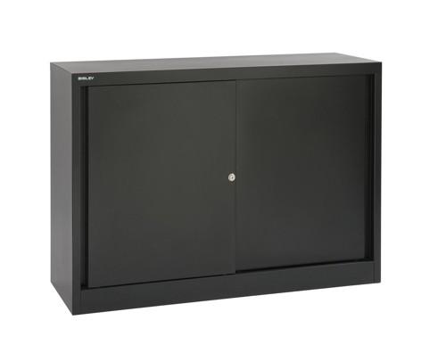 Trexus Storage Cupboard Steel 2-Door W914xD400xH1000mm Black