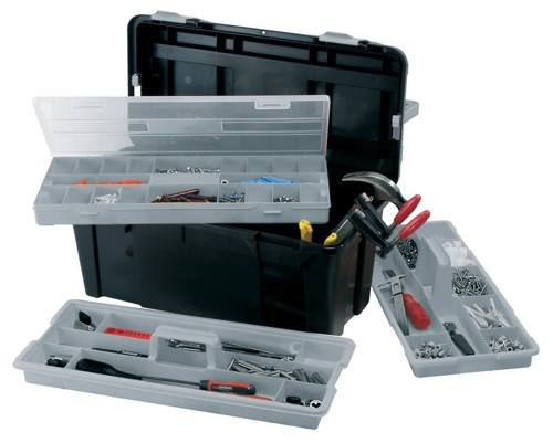 Raaco 23 Inch Toolbox with Two Removable Trays Black Ref 715195