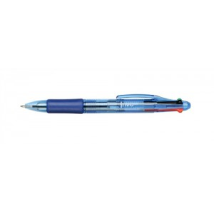5 Star Office Ball Pen 4-Colour 1.0mm Tip 0.5mm Line Black Blue Red Green [Pack 12]