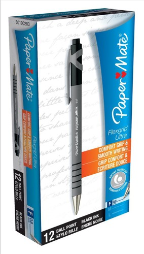 Paper Mate Flexgrip Retractable Ball Pen Fine 0.8mm Tip 0.3mm Line Black Ref S0190283 [Pack 12]
