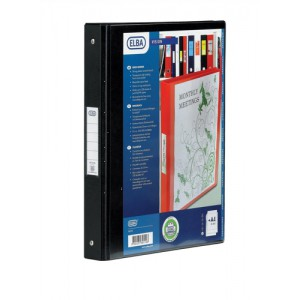 Elba Vision Ring Binder PVC Clear Front Pocket 4 O-Ring Size 25mm A4 Black Ref 100080881 [Pack 10]