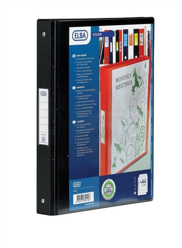 Elba Vision Ring Binder PVC Clear Front Pocket 4 O-Ring Size 25mm A4 Black Ref 100080881 [Pack 10]
