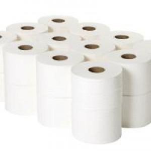 2Work 2 Ply White Micro Twin Toilet Roll