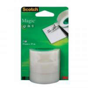 Scotch Magic Tape 19mm x 25m Refill Roll Ref 8-1925R3 [Pack 3]