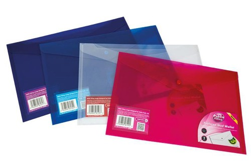 Concord Stud Wallet File Translucent Polypropylene Foolscap Blue Ref 6130-PFL (BLU) [Pack 5]
