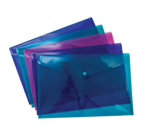 Concord Stud Wallet File Vibrant  Polypropylene Foolscap Assorted Ref 7089-PFL [Pack 5]