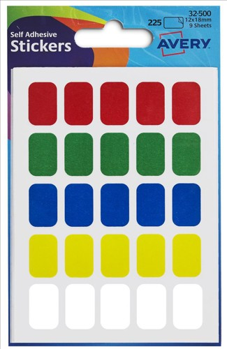 Avery Labels 12x18mm Rectangular Assorted Ref 32-500 [225 Labels]