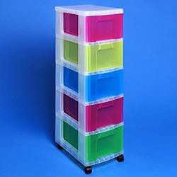 ReallyUseful Tower 5x12L Drawers Clr/Ast