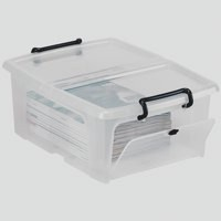 Strata Smart Box Clip on Folding Lid Opens Front or Side 20 Litre Clear Ref HW695