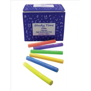 Study Time Coated Chalk Assorted Colours Ref EDU212 [Pack 100]