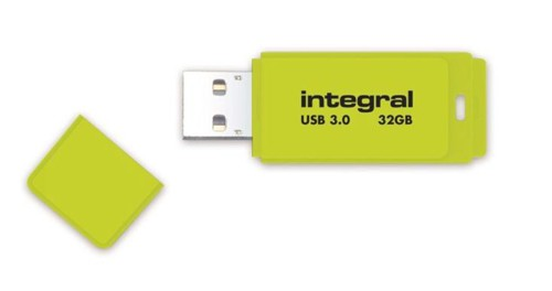 Integral Neon Flash Drive USB 3.0 Yellow 32GB Ref INFD32GBNEONYL3.0