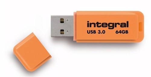 Integral Neon Flash Drive USB 3.0 Orange 64GB Ref INFD64GBNEONOR3.0