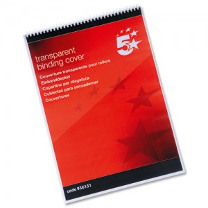 5 Star A3 Clear Binding Covers Pk100