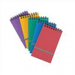 Notepad Wirebound Elasticated Ruled 90gsm 120 Pages 176x76mm Assorted A [Pack 20]