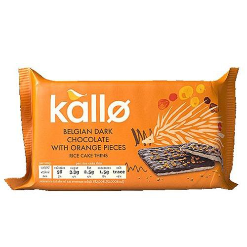 Kallo Gluten-free Rice Cake Thins Belgian Dark Chocolate and Orange 90g Ref A07902