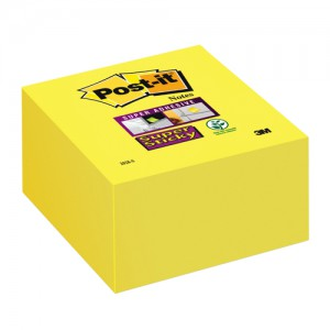 Post-it Super Sticky Note Cube Pad of 350 Sheets 76x76mm Yellow Ref 2028-S