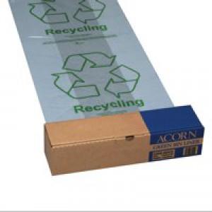 Acorn Green Bin Liner Clear Pk50