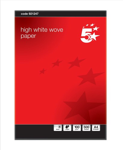 5 Star Paper Hi-White Wove A4 100g Pk500