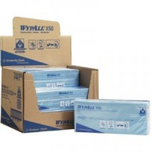 Wypall X50 Cleaning Cloths Absorbent Strong Non-woven Tear-resistant Blue Ref 7441 [Pack 50]