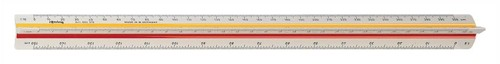 Rotring Ruler Triangular Reduction Scale 6 Surveying 1-25 to 1-2500 with 2 Coloured Flutings Ref S0220721