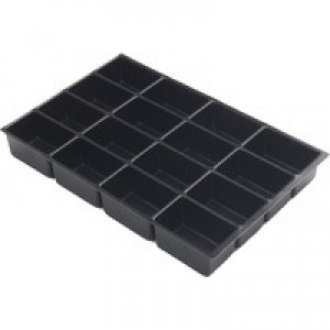 Bisley Insert Tray 2/4 Plastic for Storage Cabinet 4 Sections H51mm Black Ref 225P1 [Pack 5]