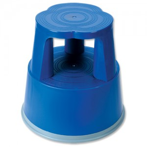 Image for Business Step Stool Mobile Plastic Lightweight Strong Top W290xH430xBaseW400mm Blue