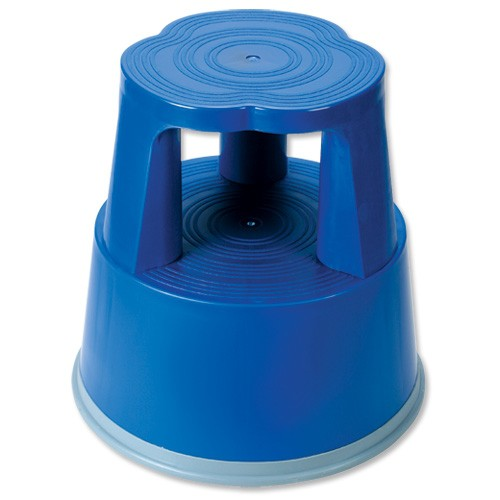 Business Step Stool Mobile Plastic Lightweight Strong Top W290xH430xBaseW400mm Blue