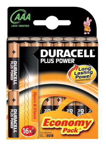 Duracell Plus Power AAA Battery Pkd16