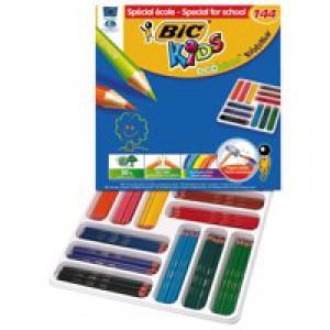 Bic Kids Ecol Hex Pencils Asrtd Pk144