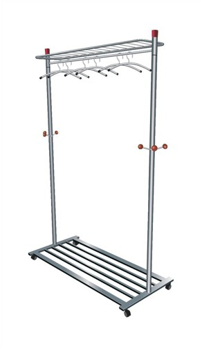 Business Coat and Garment Rack Mobile 4 Wheels Shelves Capacity 40-50 Hangers