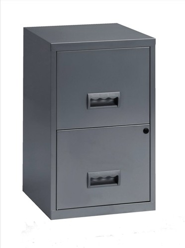 Pierre Henry Filing Cabinet Steel Lockable 2 Drawers A4 Silver Ref 595000