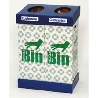 Acorn Office Blu/Grn Twin Recycling Bin