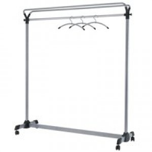 Coat Rack Mobile 4 Wheels Metal Frame Capacity 36 Hangers