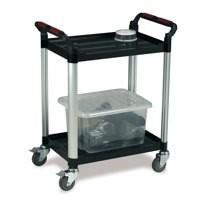 Barton 2 Shelf Plastic Trolley Silv/Blk