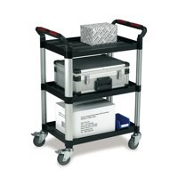 Barton 3 Shelf Plastic Trolley Silvr/Blk