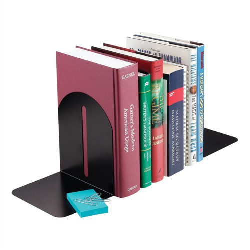 Bookends Modern Design Metal Black [Pack 2]