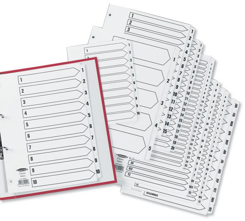 Concord Classic Index Mylar-reinforced Punched 4 Holes 1-54 A4 White Ref 05401/CS54