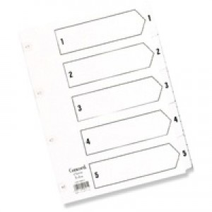 Concord Classic Index Mylar-reinforced Punched 2 Holes 1-5 A5 White Ref 07001/CS70