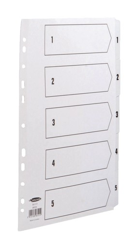 Concord Commercial Index Mylar-reinforced Europunched 1-5 Clear Tabs A4 White Code 08101