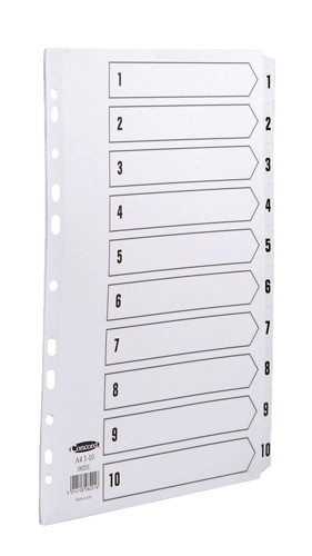 Concord Commercial Index Mylar-reinforced Europunched 1-10 Clear Tabs A4 White Ref 08201