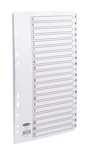 Concord Commercial Index Mylar-reinforced Europunched 20-Part A-Z Clear Tabs A4 White Ref 08601