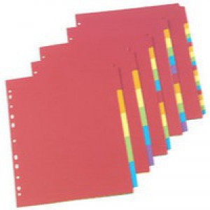 Concord Bright Subject Dividers Europunched 12-Part A4 Assorted Ref 50999