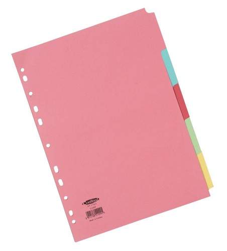 Concord Commercial Subject Dividers 5-Part A4 Assorted Ref 51099