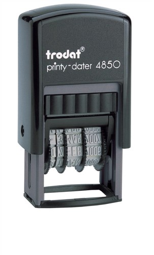 Trodat EcoPrinty 4850/L2 Self Inking PAID & Date Stamp Red/Blue