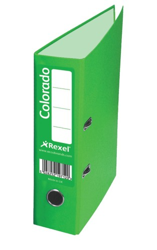 Rexel Colorado Lever Arch File Plastic 80mm Spine Foolscap Green Ref 28114EAST [Pack 10]
