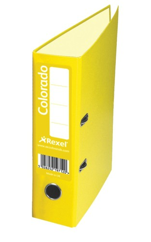 Rexel Colorado Lever Arch File Plastic 80mm Spine Foolscap Yellow Ref 28119EAST [Pack 10]
