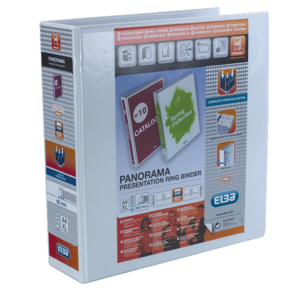 Elba Panorama Presentation Binder PVC 3 Cover Pockets 4 D-Ring 65mm A4 White Ref 400001305 [Pack 10]