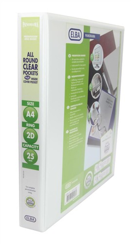 Elba Panorama Presentation Binder PVC 3 Cover Pockets 2 D-Ring 25mm A4 White Code 400001398